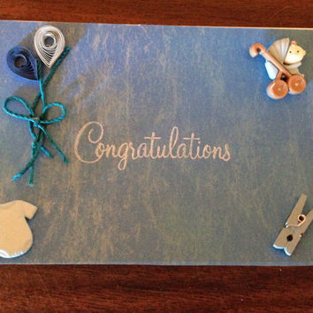 Handmade card, new baby boy, congrats boy, quilling card,