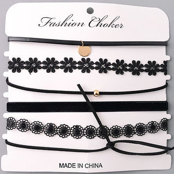 Assorted Textures Choker Necklaces Set - Black/Gold