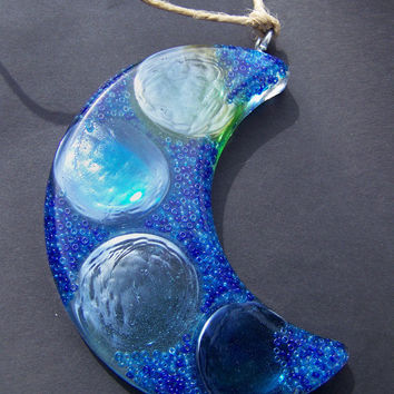 Beads and Bubbles Blue Moon Sun Catcher by Medusa13 on Etsy