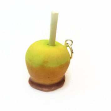 Caramel Apple Charm ~ Polymer Clay Charms ~ Edible Art ~ Food Charms ~ Green Apple ~ Sweet Charms ~ Bracelet Charms