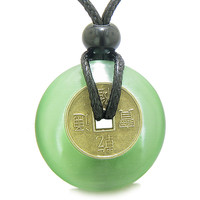 Lucky Coin Magic Powers Amulet Neon Green Cats Eye Crystal 30mm Donut Pendant Necklace