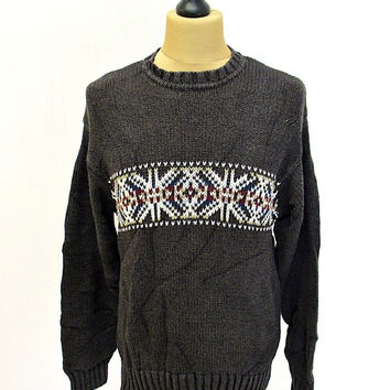 Vintage 90s Gap Grey Cross Pattern Shaker Knit Jumper Sweater Medium