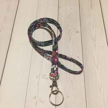 Lanyard  ID Badge Holder - NEW/ THINNER design skinny Flowers - Lobster clasp and key ring