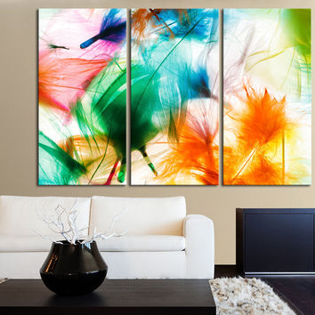 Large Wall Art Colorful Feather Canvas Print - Streched - Giclee - Abstract Color Gallery Wrap Large Size Wall Art Feathers Canvas