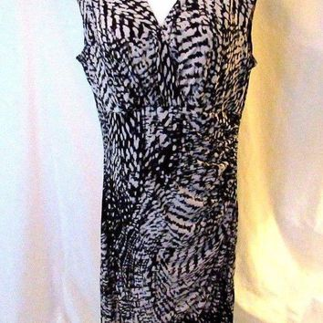 Lauren Ralph Lauren Dress Women's 14 Black Gray Cream Sleeveless Draped Wrap