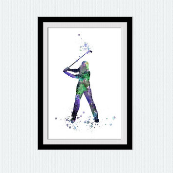 Golf player print Golf player poster Golf watercolor illustration Wall decor Home decoration Living room wall art Sport colorful poster W393