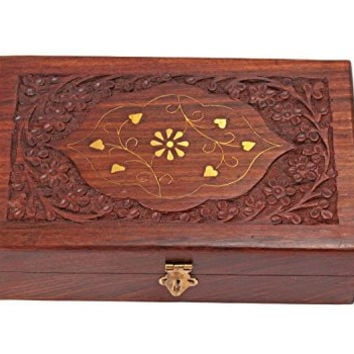 Wooden Jewelry Storage Box Hand Carved Keepsake Organizer with Intricate Floral Patterns