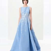 Ruffled Embroidered Silk-Faille Gown - Ready to Wear - Oscar de la Renta