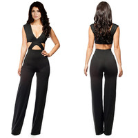 Black V-Neck Cut-Out Jumpsuit