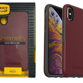 OtterBox Symmetry Case Cover for Apple iPhone XS iPhone X Fine Port Red Gray