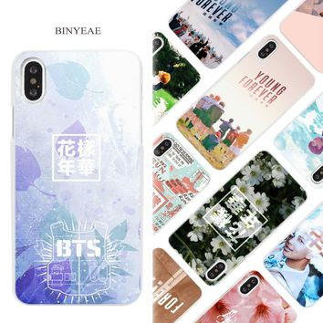 BINYEAE BTS BANGTAN Young Forever Fllowers Hard White Phone Case Cover Coque Shell for iPhone X 6 6S 7 8 Plus 5 5S SE 4 4S 5C