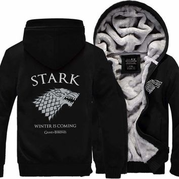 Hoodies Men Print Game Of Thrones Men Sweatshirt House Stark Thicken Winter Is Coming Print Men Hoodie Zip Up Hip Hop Hoody