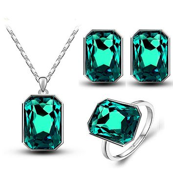 Crystal Square Pendant Necklace Earrings Rings Fashion Charm Jewelry Sets