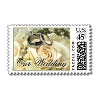 Wedding Flowers and Rings Postage Stamps from Zazzle.com