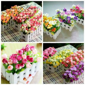 1 set Wooden fence vase + flowers rose and Daisy artificial flower set silk flowers home decoration Birthday Gift