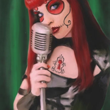 "Day of the Dead archival print ""Chanteuse"""