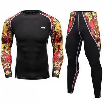 New 2017 Men Compression Set T Shirt + Joggers Fashion 3D Printed Tight Fitness Tshirt Men Crossfit Skinny Leggings Suits