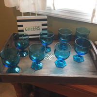 Wine/Drinking Glasses, Blue Mid century brilliant color, Shabby chic,boho home, Country farmhouse, house warming gift. Excellent condition
