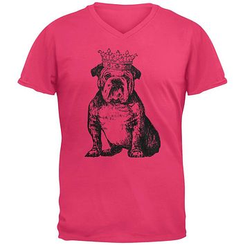 Bulldog Crown Mens V-Neck T Shirt