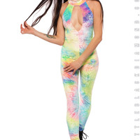 After Party Catsuit in Bubble Tie Dye Velvet