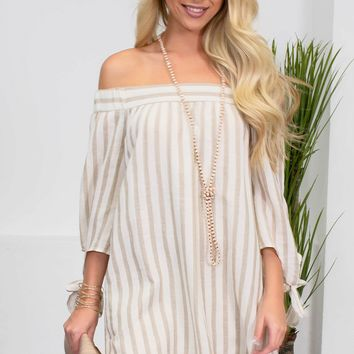 Summer Beige Cotton Striped Dress