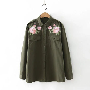 Embroidery Floral Cotton Shirt [8541315399]