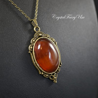 Red Carnelian Necklace - Natural Chunk Carnelian Pendant - Minimalist Bronze Red Agate Necklace - Edwardian Renaissance Stone Jewelry