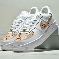 NIKE AIR FORCE 1 & GUCCI New fashion casual men letter print shoes White