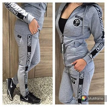 Moschino Fashion Hooded Cardigan Jacket Coat Pants Trousers Set Two-Piece Sportswear