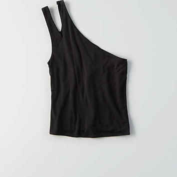 AEO One Shoulder Cutout Tank , True Black