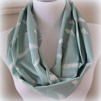 Mineral Blue Organic Cotton Voile Infinity Scarf, Feather Scarf
