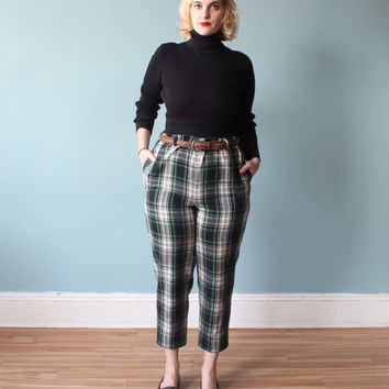 plus size trousers / green plain tartan pants / 1990s / XL