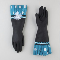 Fancy, indestructible turquoise ladies rubber dish gloves. Free shipping.