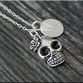 Silver Skull Charm Necklace, Initial Charm Necklace, Personalized, Day of the Dead Charm, Flower Skull Pendant, Skull Jewelry, Halloween