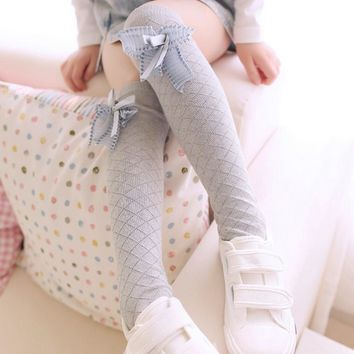 Fashion Kid Winter Over Knee Socks Warm Thigh High Long knit Cotton Stockings For Girls Princess Bow Pattern Knee High Socks W1