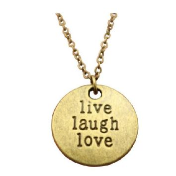 Antique Bronze Color Live Laugh Love Pendant Necklace