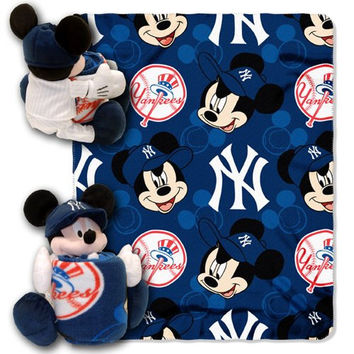 MLB New York Yankees Mickey Mouse Pillow with Fleece Throw Blanket Set