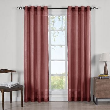 BURGUNDY 50x96 Abri Grommet Crushed Sheer Curtain Panels (Set of 2)