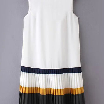 Multicolor Zipper Back Pleated Hem Sleeveless Dress