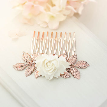 Rose Gold Hair Comb, Bridal Hair Comb, Rose Gold Wedding Hair Accessory, Leaf Branch Cream White Rose Flower Comb, labor day sale