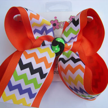 Large 2 Layer Orange Halloween Chevron Print Ribbon Hair Bow Karens Creations