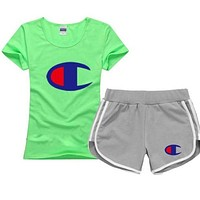 Champion 2018 trendy men and women short-sleeved shorts sports two-piece F/A green