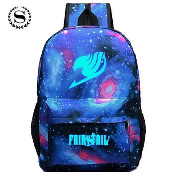 Fairy Tail Printing Women Backpack Anime School Bags for Teenagers Girls Cartoon Travel Nylon Bag Mochila Galaxia Rucksack 122t