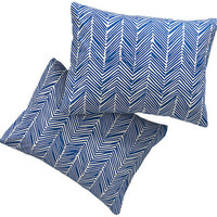 CB2 set of 2 standard blue chevron shams from CB2 | BHG.com Shop