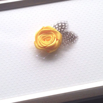 Yellow Satin Rosette Feather Clip, Guinea Feather Clip, Hair Clip, Yellow Flower Clip, Alligator Clip, Ribbon Lined Clip, Nickel Free