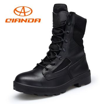 QIANDA Man Military Tactical Boots Outdoor Male Mountain Climbing Shoes Genuine Leather Trekking Hunting Boots Men Hiking Shoes