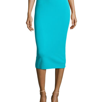 Fitted Knit Tube Skirt, Aqua, Size: