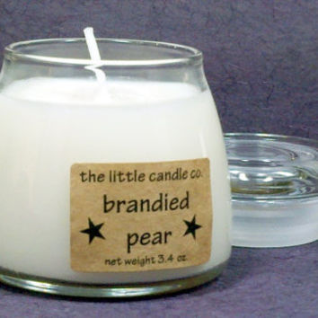 Brandied Pear Soy Candle Jar - Hand Poured and Highly Scented Winter Container Candles