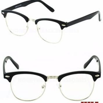 Retro Clubmaster Wayfarer Clear Lens Nerd Frames Glasses Mens Womens Half Metal