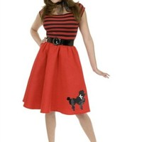 50's Poodle Dress Costumes Red/Black - 50's Womens Costumes - Funwirks.com
